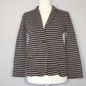 J. Crew Black and Cream Striped Sweater Blazer - S